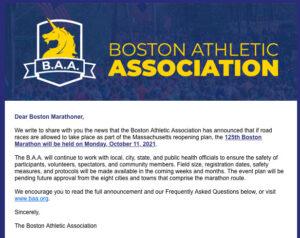 ボストンマラソン10月11日に開催