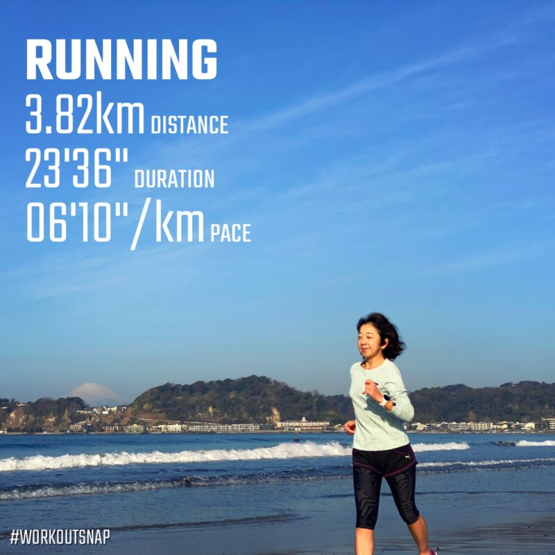 "3.82km(6'11"") イージーラン【2021/3/10】in材木座海岸"