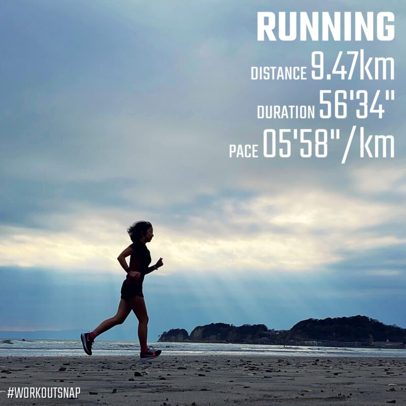 "9.47km(5'59"") スピードリピート【2021/3/22】in材木座海岸"