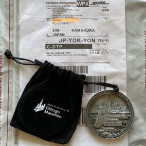 シカゴマラソンのメダル到着