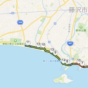 """21.15km(5'53"""") 辻堂ハーフ【2021/3/18】MAP"""