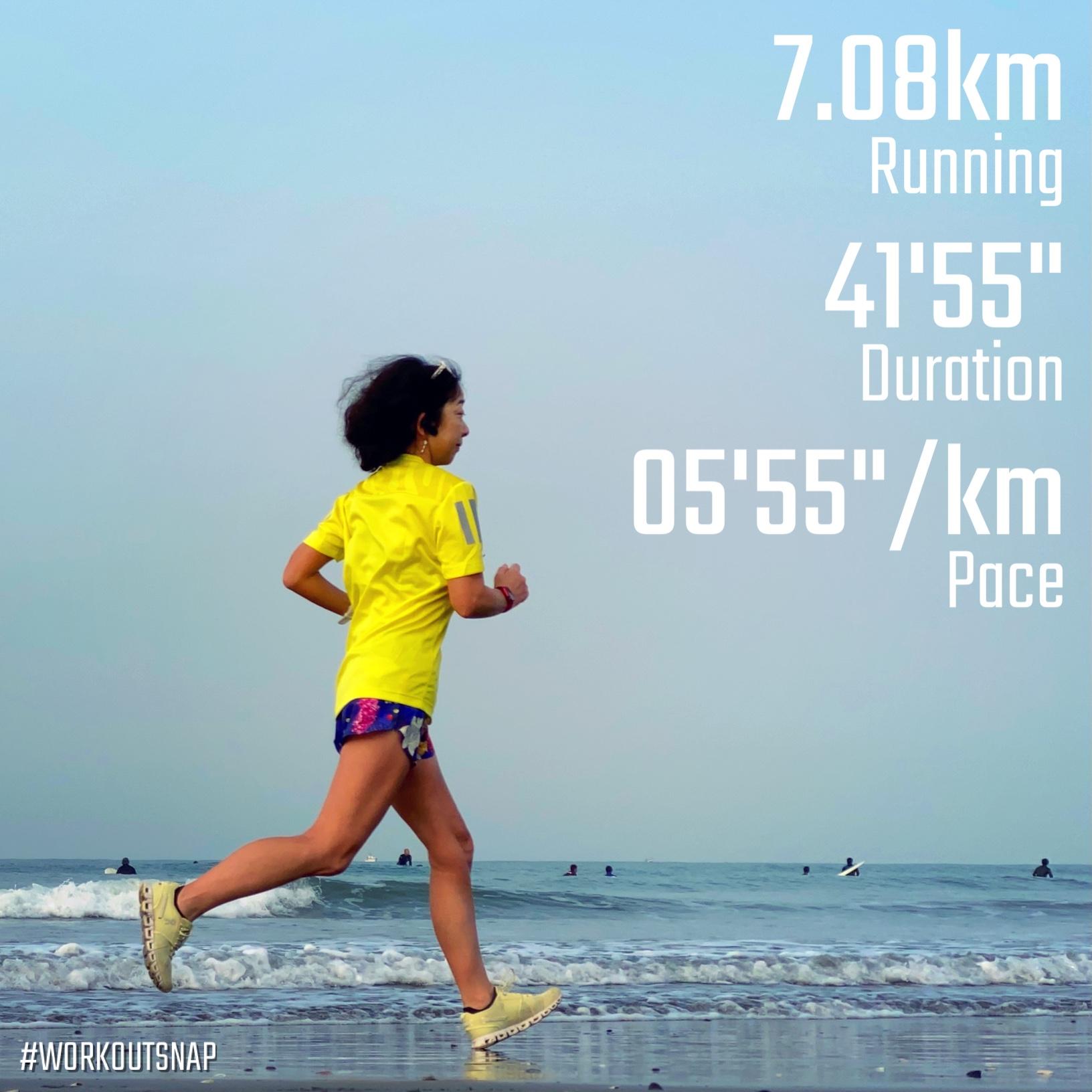 "7.08km(5'55"") イージーラン【2021/3/30】in材木座海岸"