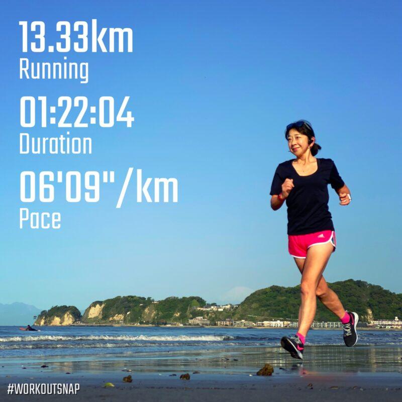 "13.33km(6'10"") スピードリピート【2021/4/19】in材木座海岸"