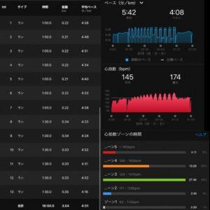 "9.03km(5'42"") スピードリピート【2021/4/26】心拍数"