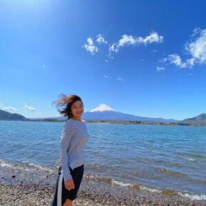 河口湖畔で富士山ショット