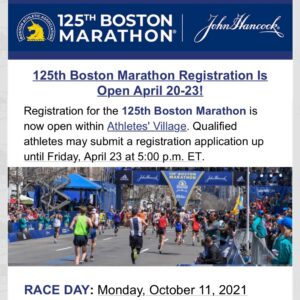 第125回ボストンマラソンのエントリー開始