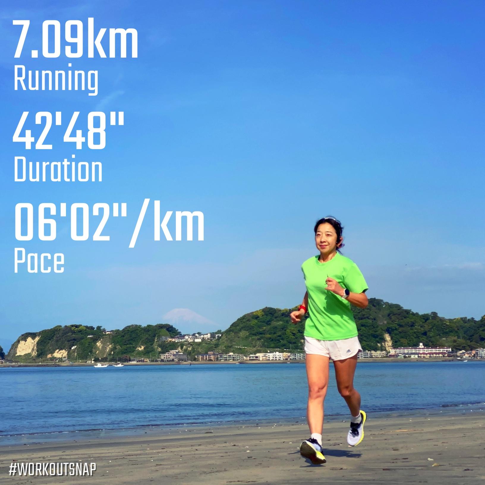 "7.09km(6'02"") イージーラン【2021/4/27】in材木座海岸"