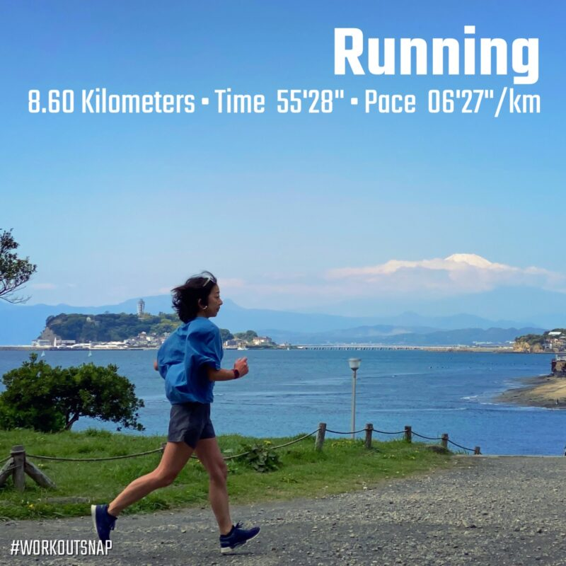 "8.6km(6'27"") 疲労時ラン【2021/4/10】in稲村ヶ崎海浜公園"