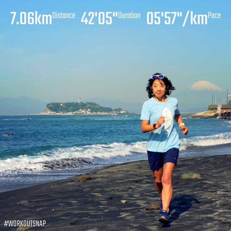"7.06km(5'58"") イージーラン【2021/4/21】in稲村ヶ崎"