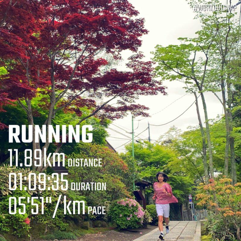 "11.89km(5'51"") 誕生日ラン【2021/4/17】in海蔵寺"