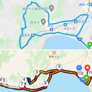 """10.35km(5'56"""") 七里ヶ浜ラン【2021/4/30】MAP"""