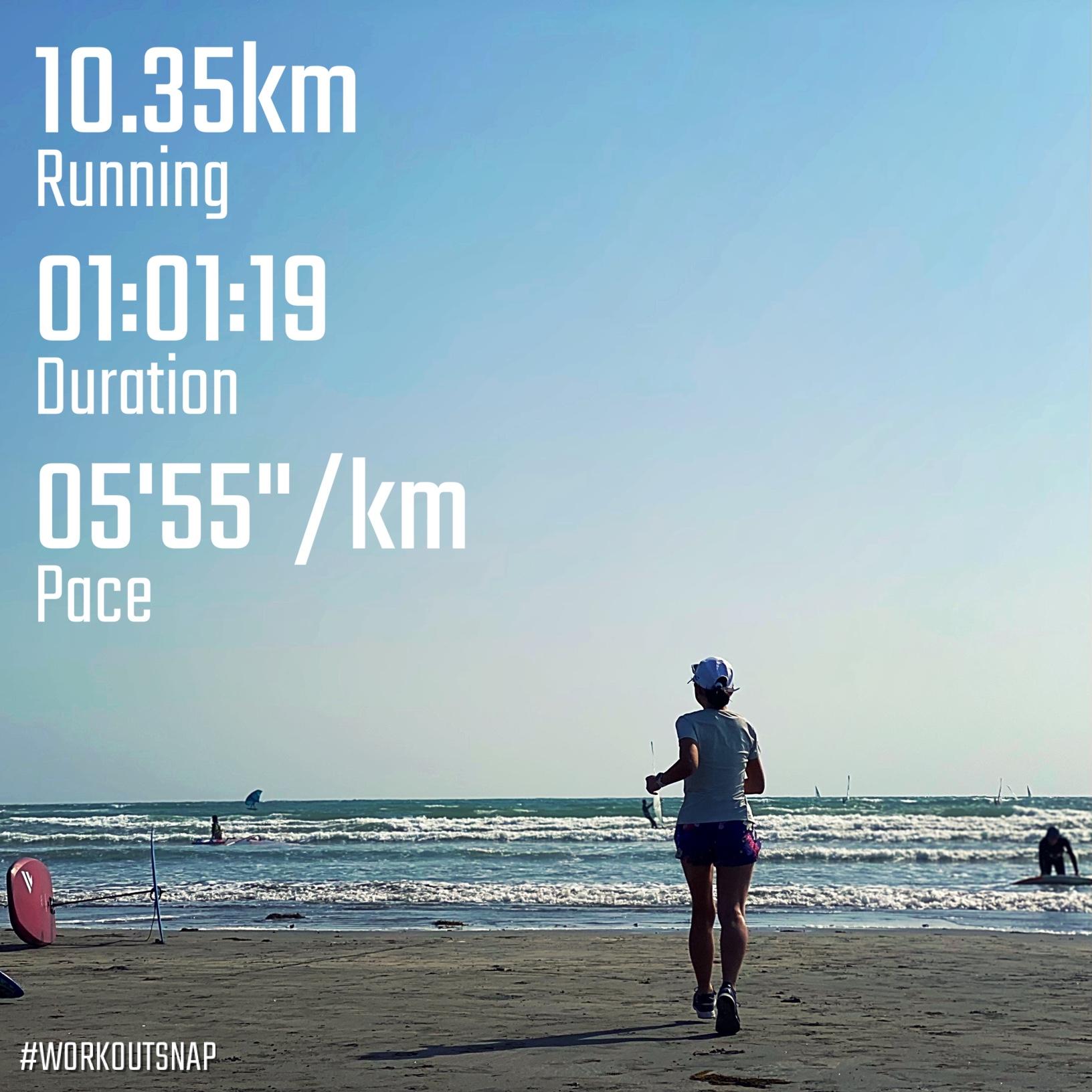 """10.35km(5'56"""") 七里ヶ浜ラン【2021/4/30】in材木座海岸"""
