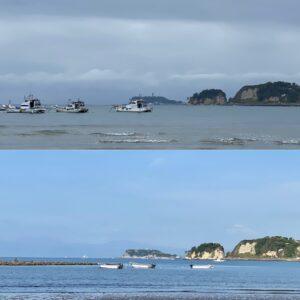 和賀江島近くの船