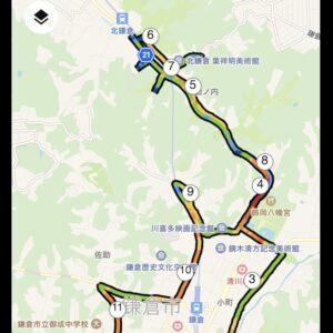 """13.49km(5'41"""") 北鎌倉ラン【2021/4/23】MAP"""
