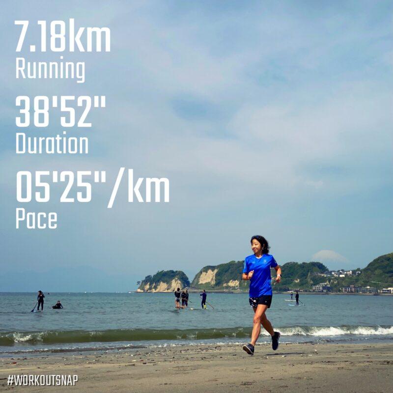 "7.18km(5'25"") 疲労時ラン【2021/4/24】in材木座海岸"
