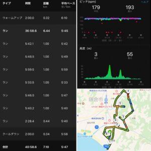 """7.10km(5'47"""") イージーラン【2021/4/20】"""