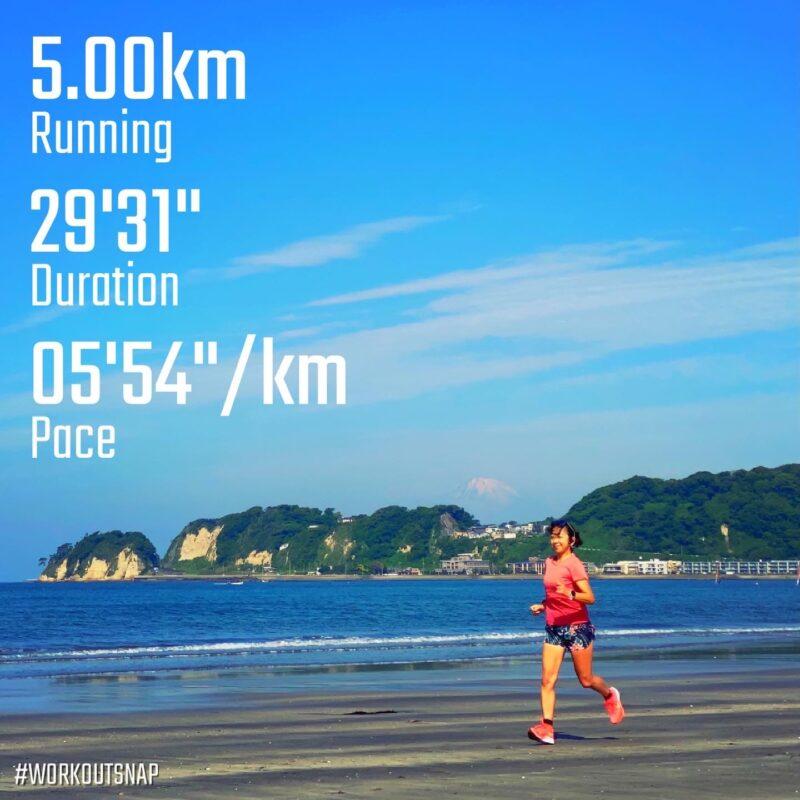 "5.00km(5'55"")  スピードリピート【2021/5/25】in材木座海岸"