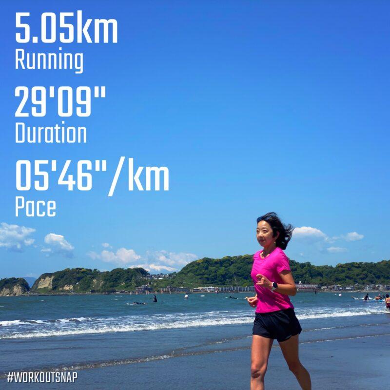 "5.05km(5'46"") スピードリピート【2021/5/3】in材木座海岸"