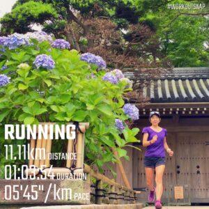 """6月22日(火)【11.11km(5'45"""")】in報国寺"""