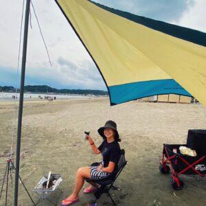 材木座海岸で休日