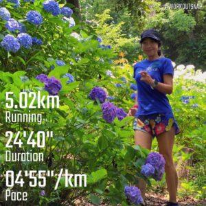 """6月26日(土)【5.02km(4'55"""")】in源氏山公園"""
