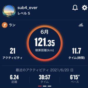 6月の走行距離は現時点で121.35km