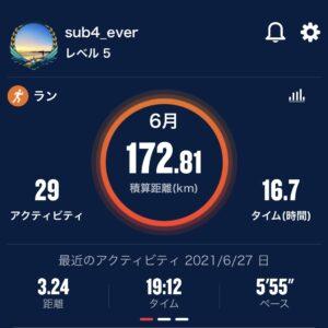 6月の走行距離は現時点で172.81km