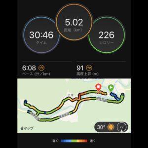 """7月22日(木)【5.02km(6'08"""")】MAP"""