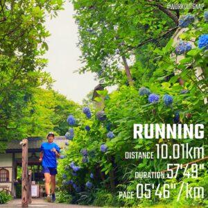 """6月30日(水)【10.01km(5'47"""")】in明月院"""