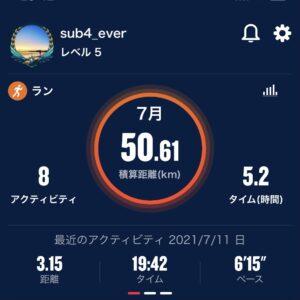 7月の走行距離は現時点で50.61km