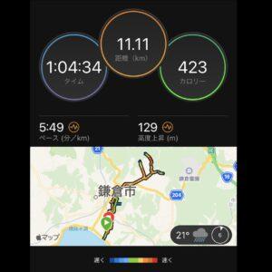 """7月4日(日)【11.11km(5'49"""")】MAP"""
