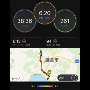 """7月5日(月)【6.2km(6'13"""")】MAP"""