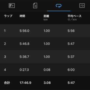 """7月21日(水)【3.08km(5'47"""")】"""