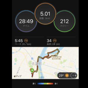 """7月26日(月)【5.01km(5'45"""")】MAP"""