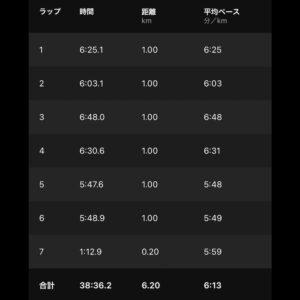 """7月5日(月)【6.2km(6'13"""")】"""