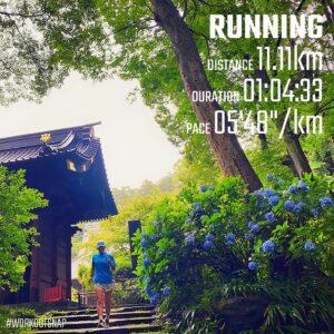 """7月4日(日)【11.11km(5'49"""")】in妙本寺"""