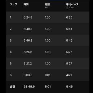 """7月26日(月)【5.01km(5'45"""")】"""