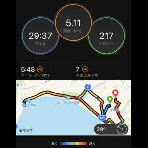"""8月8日(日)【5.11km(5'48"""")】MAP"""