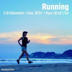 "7月31日(土)【5.10km(5'46"")】in材木座海岸"