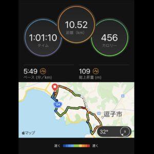 """8月25日(水)【10.52km(5'49"""")】MAP"""