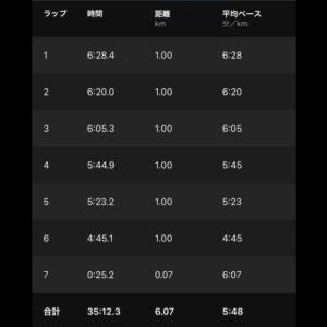 """8月23日(月)【6.07km(5'48"""")】"""