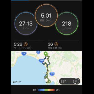 """8月4日(水)【5.01km(5'26"""")】MAP"""