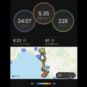 """8月26日(木)【5.35km(6'23"""")】MAP"""