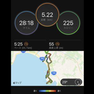 """8月2日(月)【5.22km(5'25"""")】MAP"""