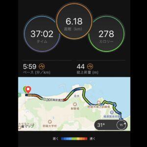 """8月29日(日)【6.18km(5'59"""")】MAP"""
