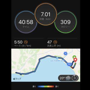 """8月15日(日)【7.01km(5'50"""")】MAP"""