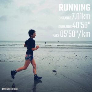 "8月15日(日)【7.01km(5'50"")】in材木座海岸"