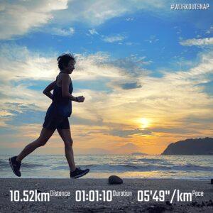 """8月25日(水)【10.52km(5'49"""")】in逗子海岸"""