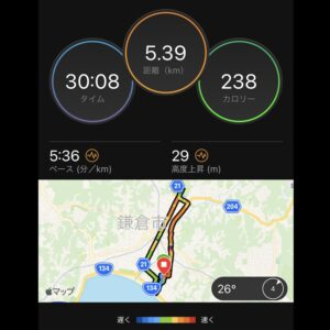 """8月12日(木)【5.39km(5'36"""")】MAP"""
