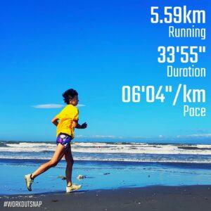 "8月10日(火)【5.59km(6'04"")】in材木座海岸"
